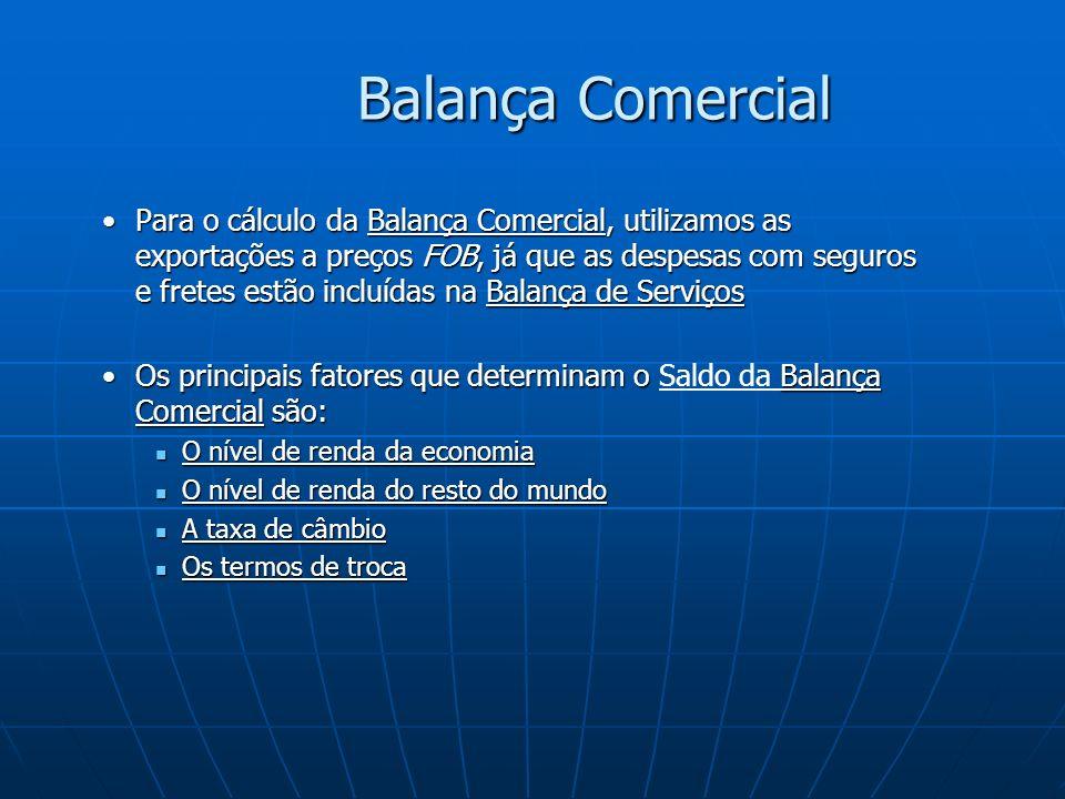Balança Comercial Para o cálculo da Balança Comercial, utilizamos as exportações a preços FOB, já que as despesas com seguros e fretes estão incluídas