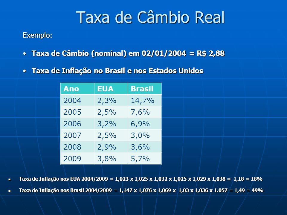 Taxa de Câmbio Real Exemplo: Taxa de Câmbio (nominal) em 02/01/2004 = R$ 2,88Taxa de Câmbio (nominal) em 02/01/2004 = R$ 2,88 Taxa de Inflação no Bras