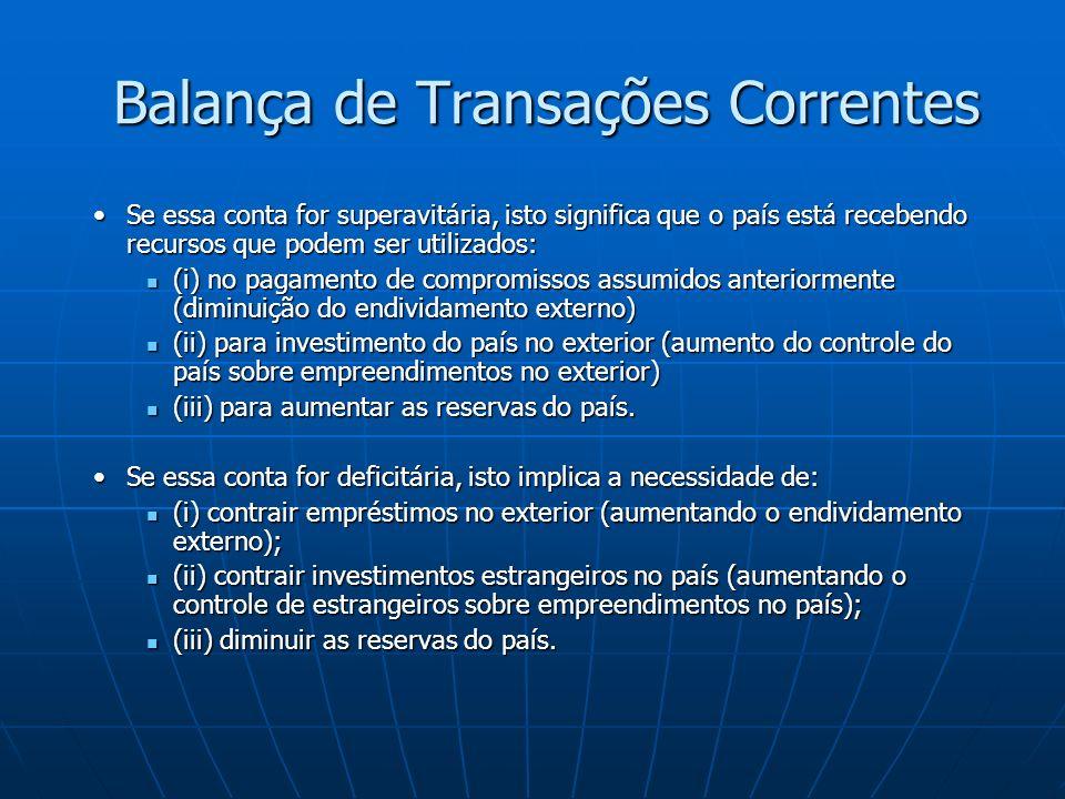 Taxa de Câmbio Real Exemplo 2 (Variação na taxa de câmbio): Exemplo 2 (Variação na taxa de câmbio): Taxa de Câmbio (nominal) em 20/05/2004 = R$ 3,20/dólarTaxa de Câmbio (nominal) em 20/05/2004 = R$ 3,20/dólar Taxa de Câmbio (nominal) em 21/05/2010 = R$1,87/dólarTaxa de Câmbio (nominal) em 21/05/2010 = R$1,87/dólar Preço em Reais de um automóvel no Brasil = R$ 50.000Preço em Reais de um automóvel no Brasil = R$ 50.000 Preço em Dólares do mesmo automóvel nos EUA = US$ 16.000Preço em Dólares do mesmo automóvel nos EUA = US$ 16.000 Preço em Dólares do automóvel brasileiro em 20/05/2004Preço em Dólares do automóvel brasileiro em 20/05/2004 R$ 50.000/3,212 = US$ 15.566 R$ 50.000/3,212 = US$ 15.566 Taxa de Câmbio Real do automóvel = 15.566/16.000 = 0,97Taxa de Câmbio Real do automóvel = 15.566/16.000 = 0,97 O carro brasileiro era 3% mais barato que o americano O carro brasileiro era 3% mais barato que o americano Preço em Dólares do automóvel brasileiro em 20/05/2010Preço em Dólares do automóvel brasileiro em 20/05/2010 R$ 50.000/1,87 = US$ 26.737 R$ 50.000/1,87 = US$ 26.737 Taxa de Câmbio Real do automóvel = 26.737/16.000 = 1,67Taxa de Câmbio Real do automóvel = 26.737/16.000 = 1,67 O carro brasileiro é, agora, 90% caro que o americano O carro brasileiro é, agora, 90% caro que o americano