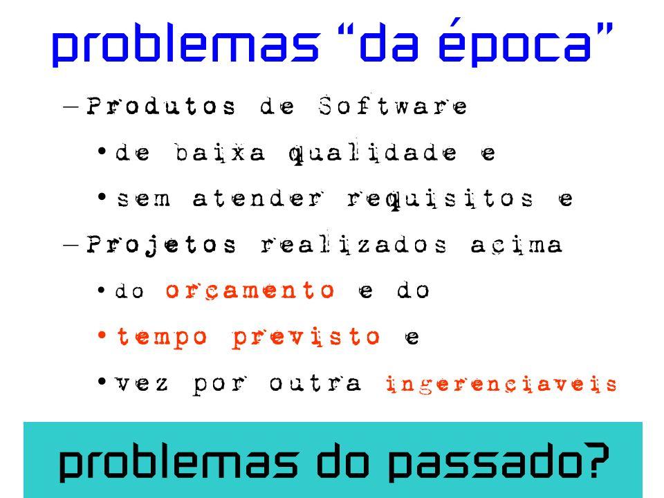 problemas da época – Produtos de Software de baixa qualidade e sem atender requisitos e – Projetos realizados acima do orcamento e do tempo previsto e vez por outra ingerenciaveis problemas do passado?