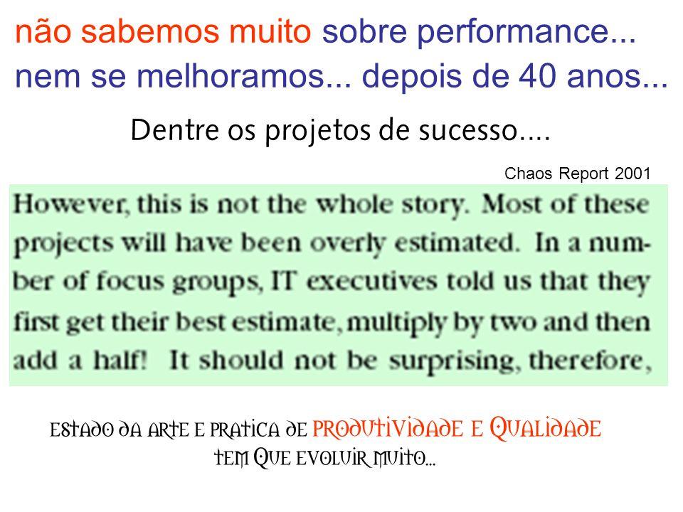 não sabemos muito sobre performance... nem se melhoramos...