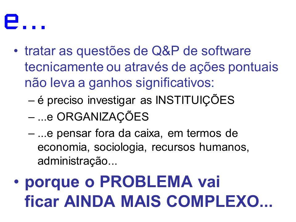 e... tratar as questões de Q&P de software tecnicamente ou através de ações pontuais não leva a ganhos significativos: –é preciso investigar as INSTIT