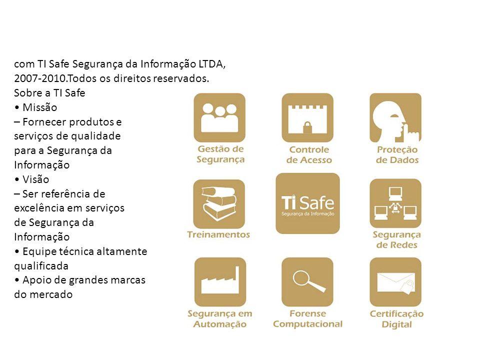com TI Safe Segurança da Informação LTDA, 2007-2010.Todos os direitos reservados. Sobre a TI Safe Missão – Fornecer produtos e serviços de qualidade p