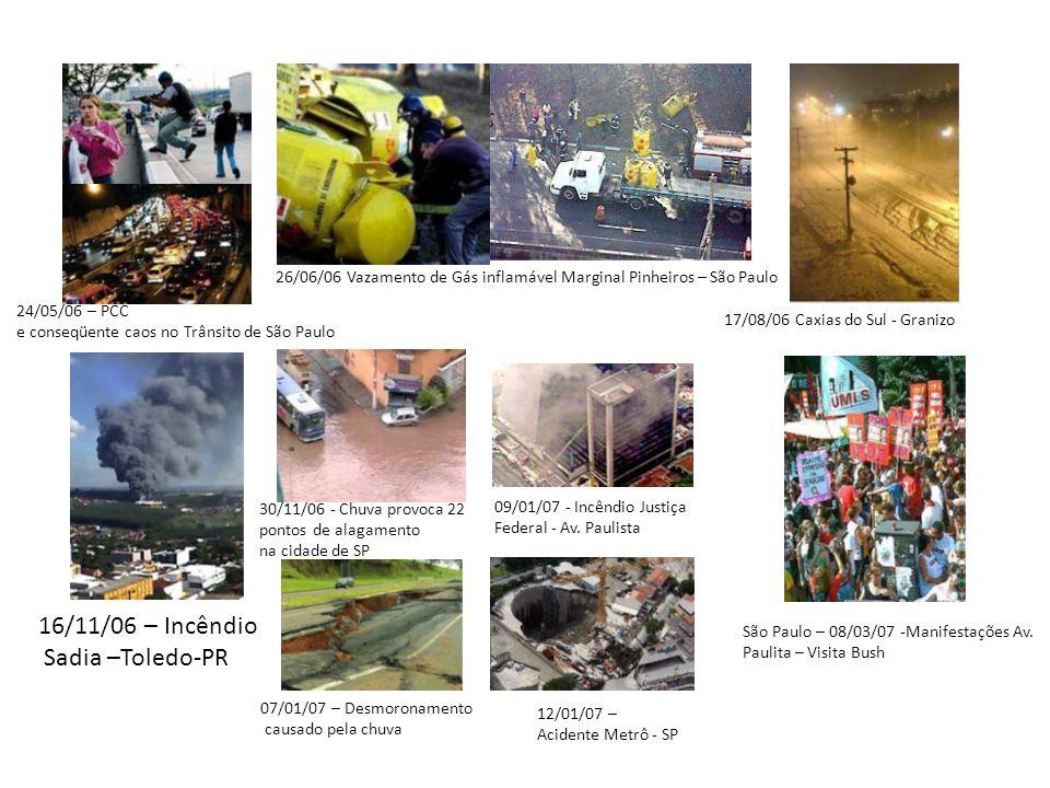 16/11/06 – Incêndio Sadia –Toledo-PR 24/05/06 – PCC e conseqüente caos no Trânsito de São Paulo 26/06/06 Vazamento de Gás inflamável Marginal Pinheiro