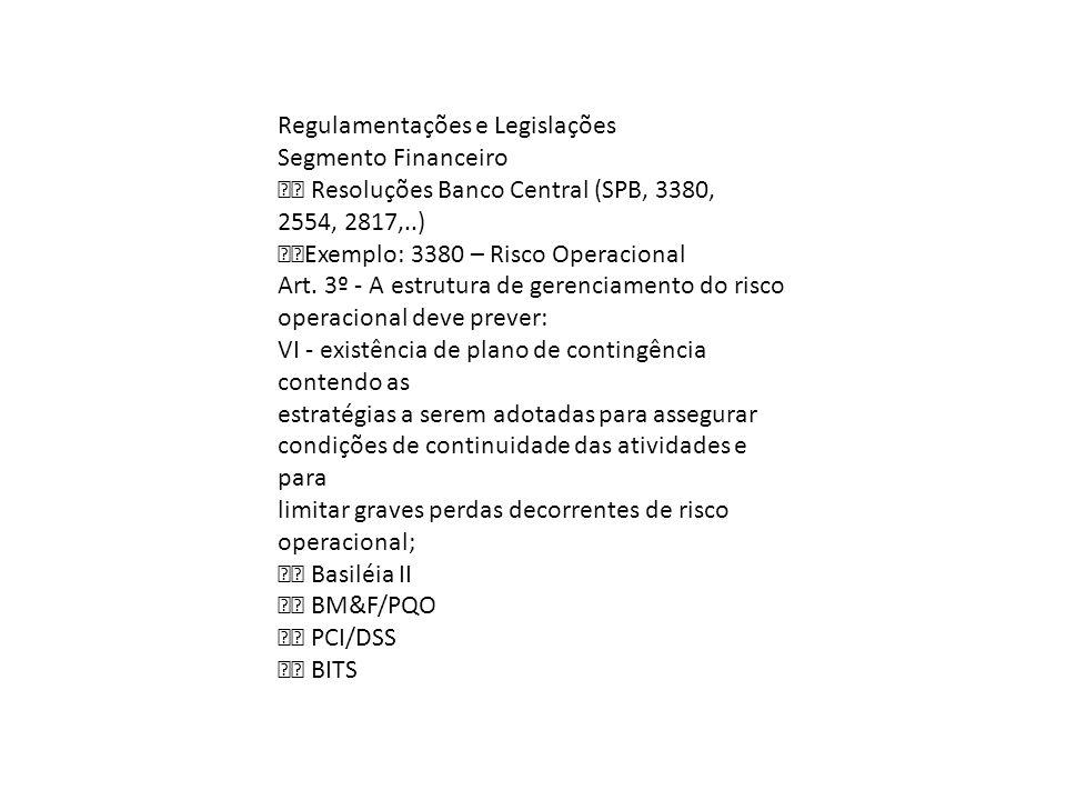 Regulamentações e Legislações Segmento Financeiro Resoluções Banco Central (SPB, 3380, 2554, 2817,..) Exemplo: 3380 – Risco Operacional Art. 3º A estr