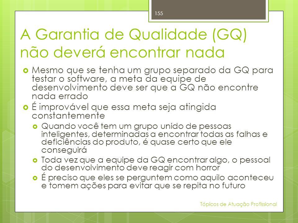 A Garantia de Qualidade (GQ) não deverá encontrar nada Mesmo que se tenha um grupo separado da GQ para testar o software, a meta da equipe de desenvol