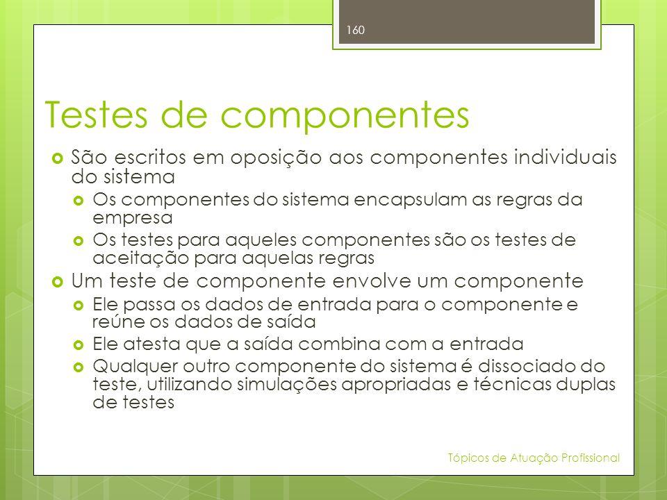Testes de componentes São escritos em oposição aos componentes individuais do sistema Os componentes do sistema encapsulam as regras da empresa Os tes