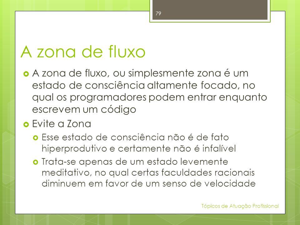 A zona de fluxo A zona de fluxo, ou simplesmente zona é um estado de consciência altamente focado, no qual os programadores podem entrar enquanto escr