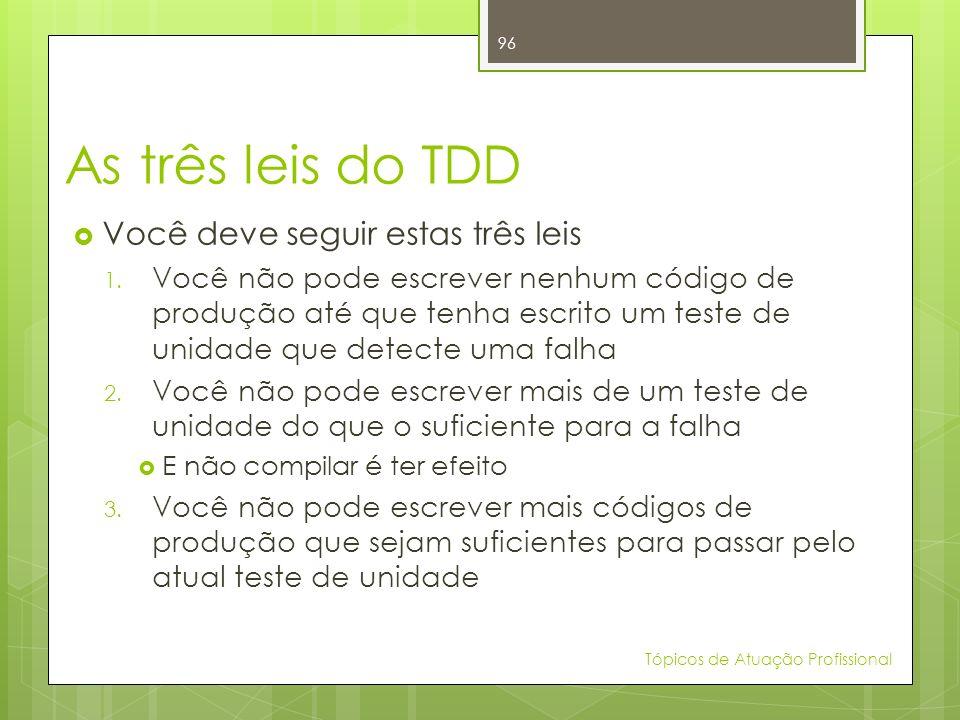 As três leis do TDD Você deve seguir estas três leis 1. Você não pode escrever nenhum código de produção até que tenha escrito um teste de unidade que