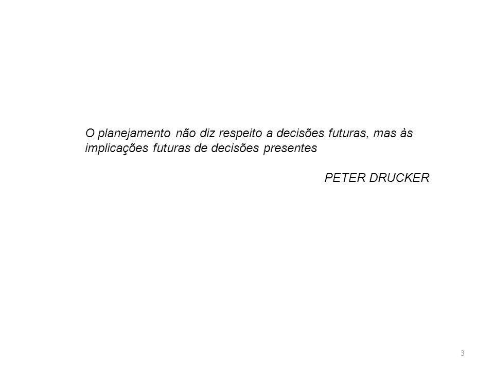 O planejamento não diz respeito a decisões futuras, mas às implicações futuras de decisões presentes PETER DRUCKER 3