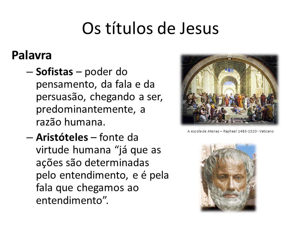 Os títulos de Jesus Palavra – Sofistas – poder do pensamento, da fala e da persuasão, chegando a ser, predominantemente, a razão humana.