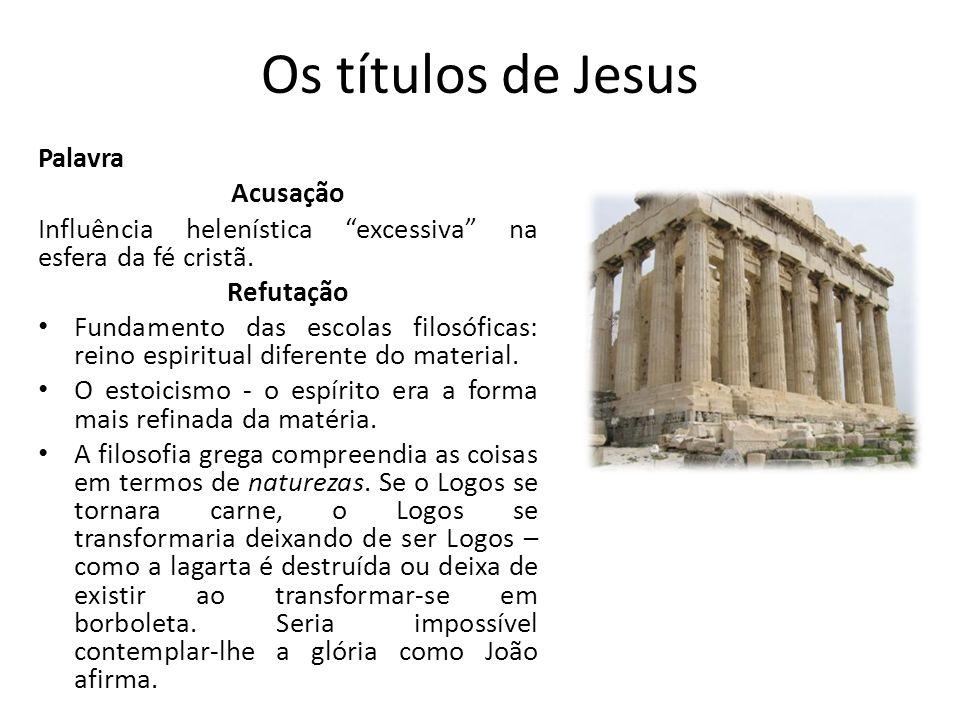 Os títulos de Jesus Palavra Acusação Influência helenística excessiva na esfera da fé cristã.