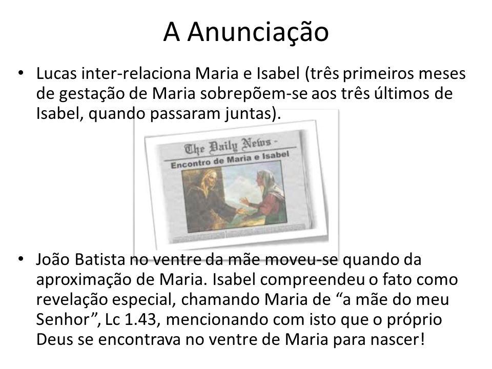 A Anunciação Lucas inter-relaciona Maria e Isabel (três primeiros meses de gestação de Maria sobrepõem-se aos três últimos de Isabel, quando passaram juntas).