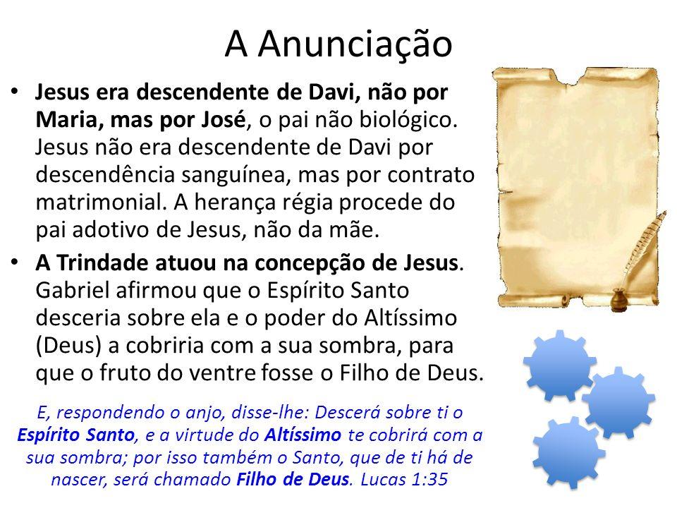 A Anunciação Jesus era descendente de Davi, não por Maria, mas por José, o pai não biológico.
