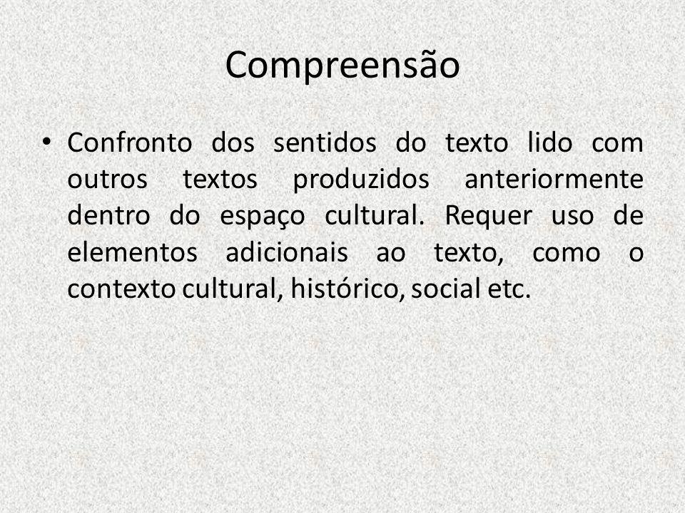 Compreensão Confronto dos sentidos do texto lido com outros textos produzidos anteriormente dentro do espaço cultural. Requer uso de elementos adicion