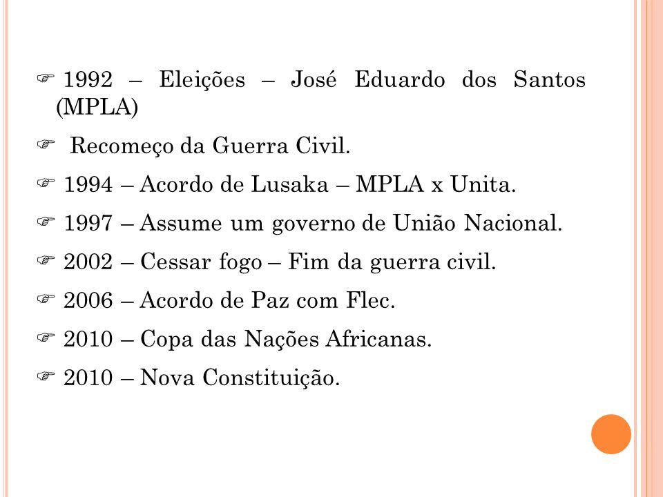 1992 – Eleições – José Eduardo dos Santos (MPLA) Recomeço da Guerra Civil. 1994 – Acordo de Lusaka – MPLA x Unita. 1997 – Assume um governo de União N