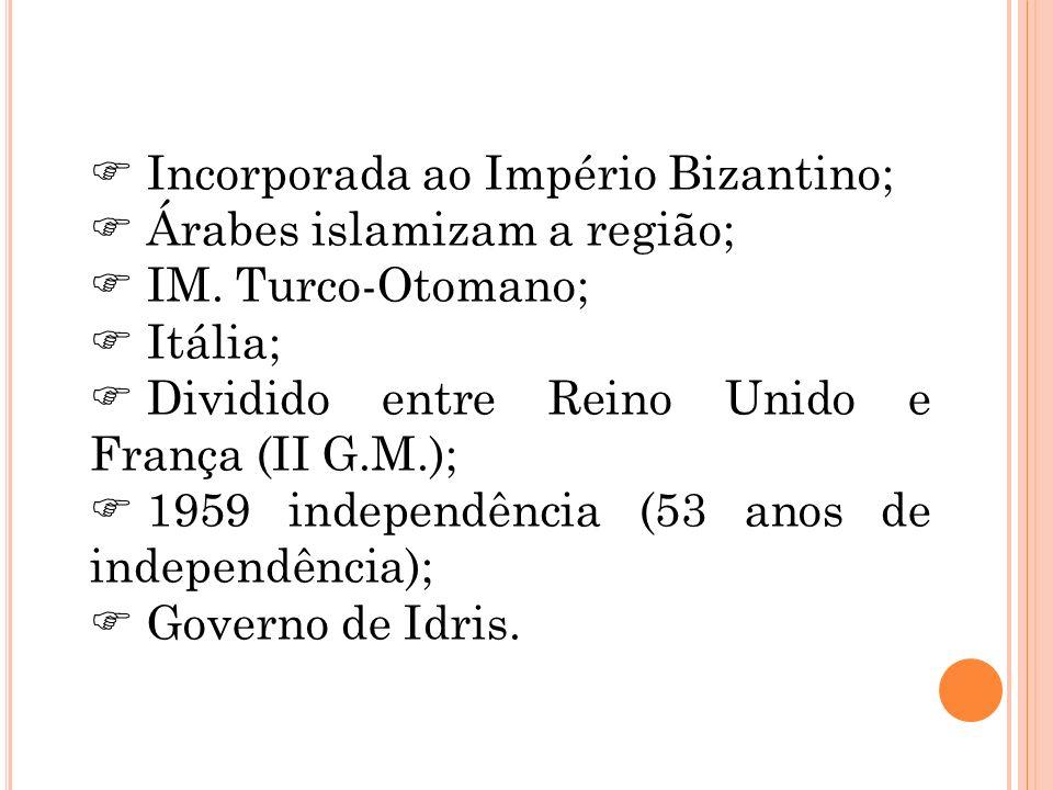 Incorporada ao Império Bizantino; Árabes islamizam a região; IM. Turco-Otomano; Itália; Dividido entre Reino Unido e França (II G.M.); 1959 independên