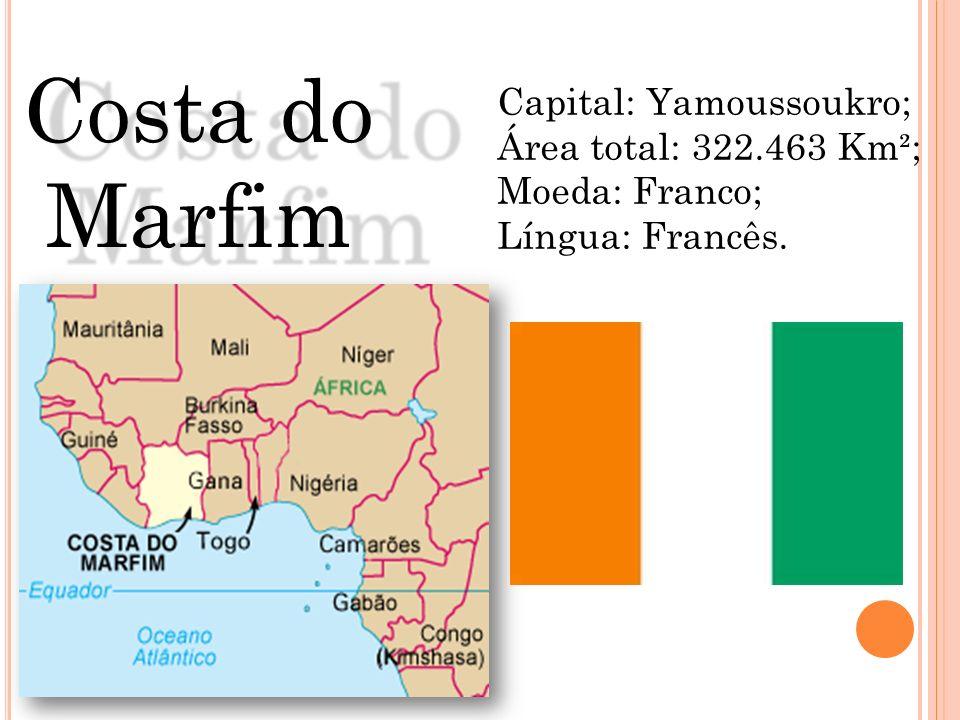 Capital: Yamoussoukro; Área total: 322.463 Km²; Moeda: Franco; Língua: Francês. Costa do Marfim