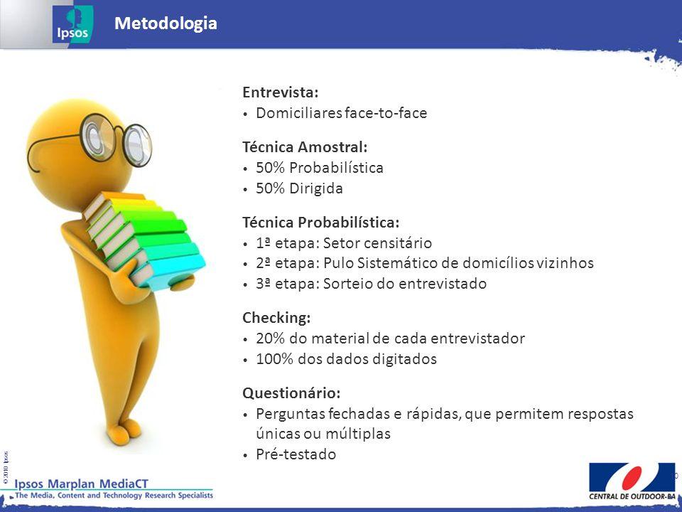 © 2010 Ipsos 10 Metodologia Entrevista: Domiciliares face-to-face Técnica Amostral: 50% Probabilística 50% Dirigida Técnica Probabilística: 1ª etapa: