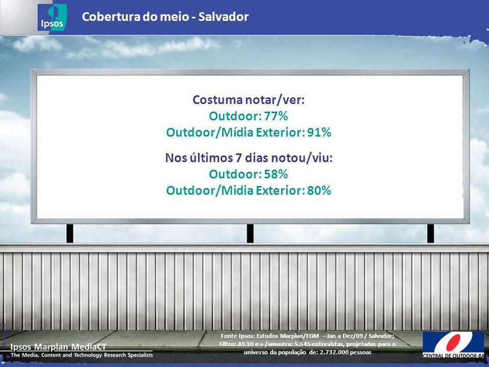 © 2010 Ipsos Cobertura do meio - Salvador Costuma notar/ver: Outdoor: 77% Outdoor/Mídia Exterior: 91% Nos últimos 7 dias notou/viu: Outdoor: 58% Outdo
