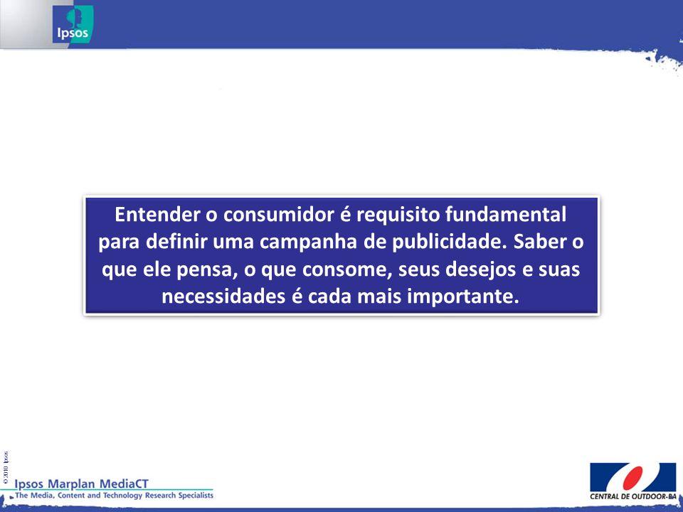 © 2010 Ipsos Entender o consumidor é requisito fundamental para definir uma campanha de publicidade. Saber o que ele pensa, o que consome, seus desejo