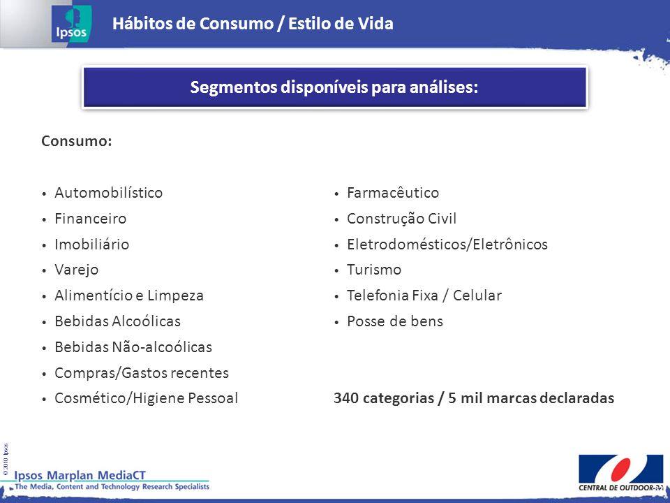 © 2010 Ipsos Hábitos de Consumo / Estilo de Vida 32 Segmentos disponíveis para análises: Consumo: Automobilístico Financeiro Imobiliário Varejo Alimen