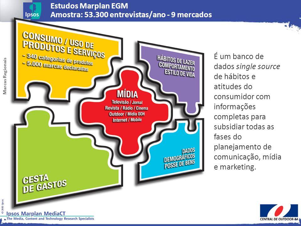© 2010 Ipsos Estudos Marplan EGM Amostra: 53.300 entrevistas/ano - 9 mercados É um banco de dados single source de hábitos e atitudes do consumidor co