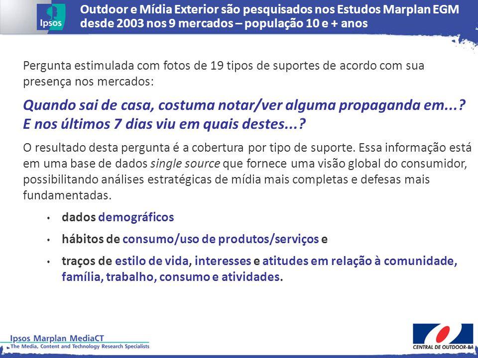 Outdoor e Mídia Exterior são pesquisados nos Estudos Marplan EGM desde 2003 nos 9 mercados – população 10 e + anos Pergunta estimulada com fotos de 19