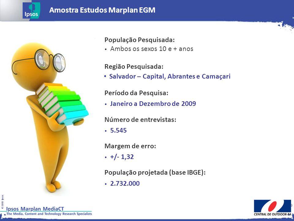 © 2010 Ipsos 9 Amostra Estudos Marplan EGM População Pesquisada: Ambos os sexos 10 e + anos Região Pesquisada: Período da Pesquisa: Número de entrevis