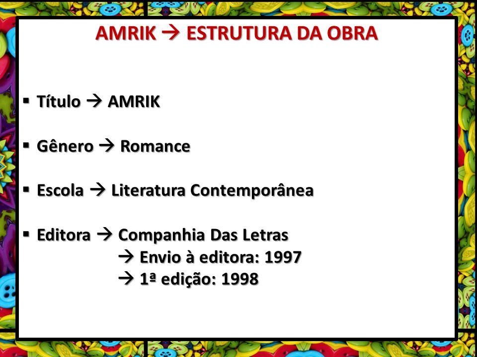 AMRIK ESTRUTURA DA OBRA Título AMRIK Título AMRIK Gênero Romance Gênero Romance Escola Literatura Contemporânea Escola Literatura Contemporânea Editor