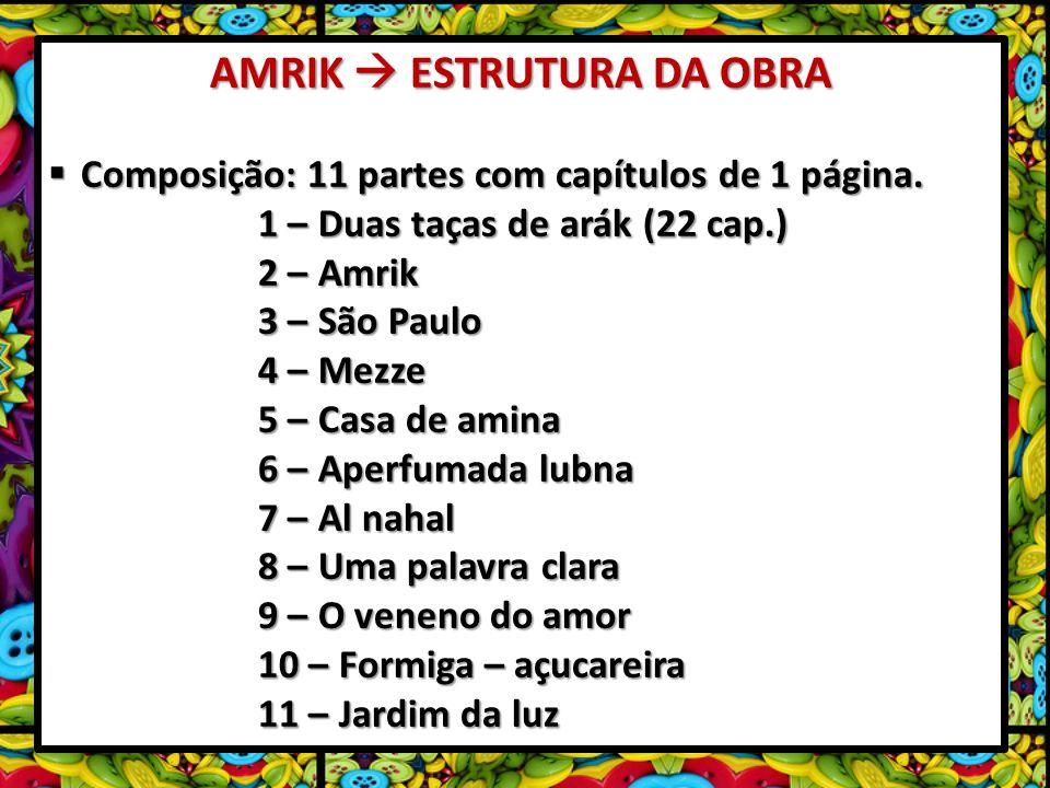 AMRIK ESTRUTURA DA OBRA Composição: 11 partes com capítulos de 1 página. Composição: 11 partes com capítulos de 1 página. 1 – Duas taças de arák (22 c