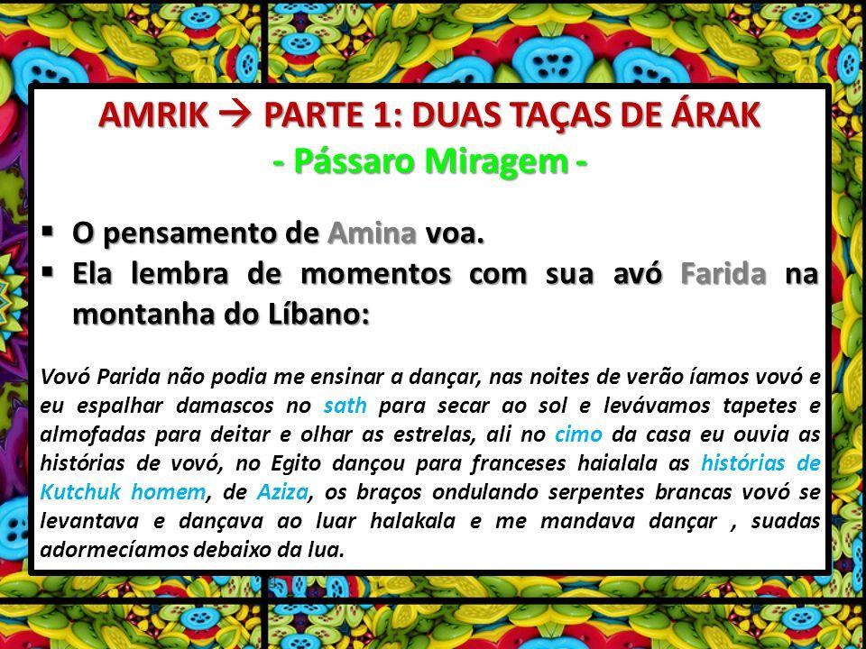 AMRIK PARTE 1: DUAS TAÇAS DE ÁRAK - Pássaro Miragem - O pensamento de Amina voa. O pensamento de Amina voa. Ela lembra de momentos com sua avó Farida