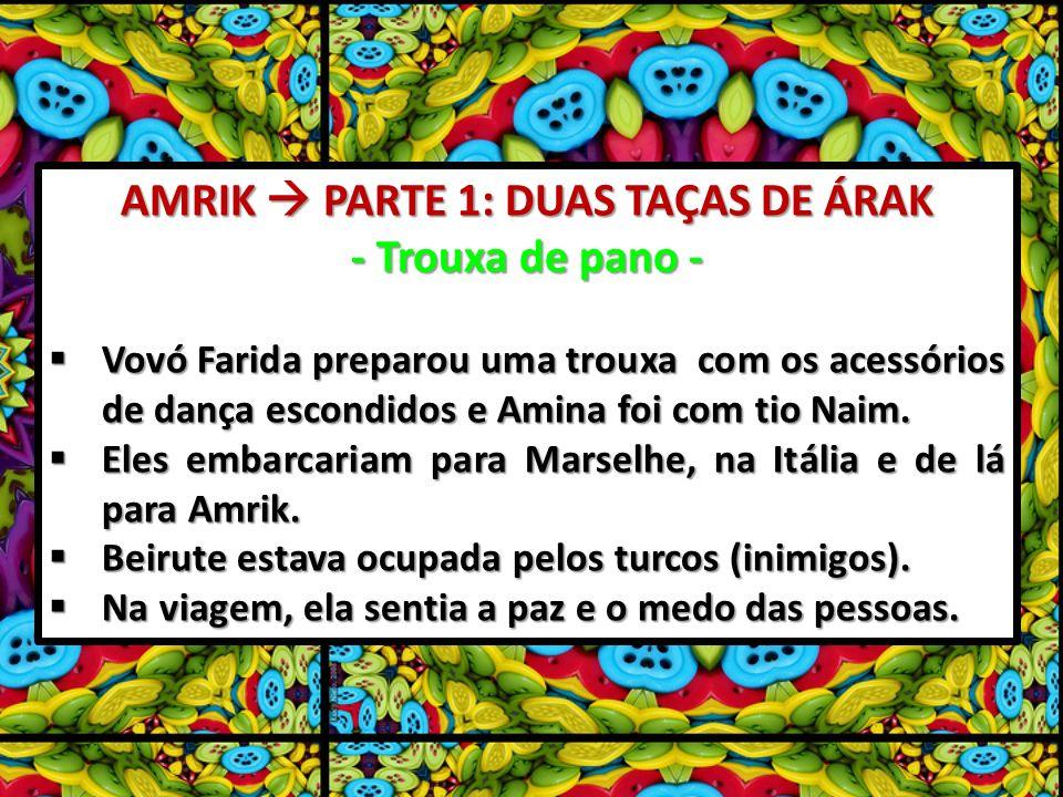 AMRIK PARTE 1: DUAS TAÇAS DE ÁRAK - Trouxa de pano - Vovó Farida preparou uma trouxa com os acessórios de dança escondidos e Amina foi com tio Naim.
