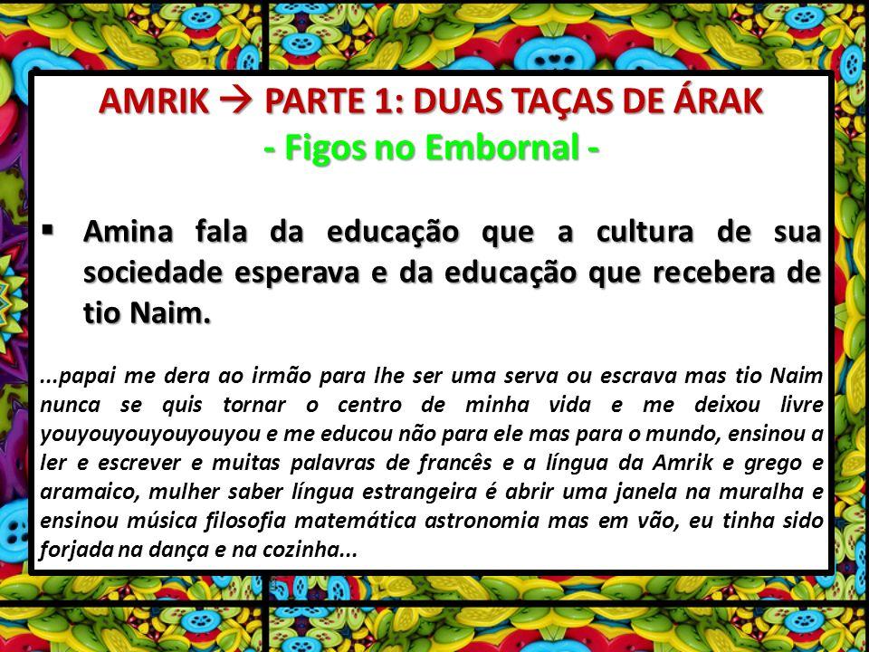 AMRIK PARTE 1: DUAS TAÇAS DE ÁRAK - Figos no Embornal - Amina fala da educação que a cultura de sua sociedade esperava e da educação que recebera de tio Naim.