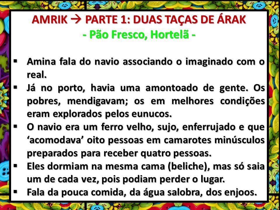 AMRIK PARTE 1: DUAS TAÇAS DE ÁRAK - Pão Fresco, Hortelã - Amina fala do navio associando o imaginado com o real.