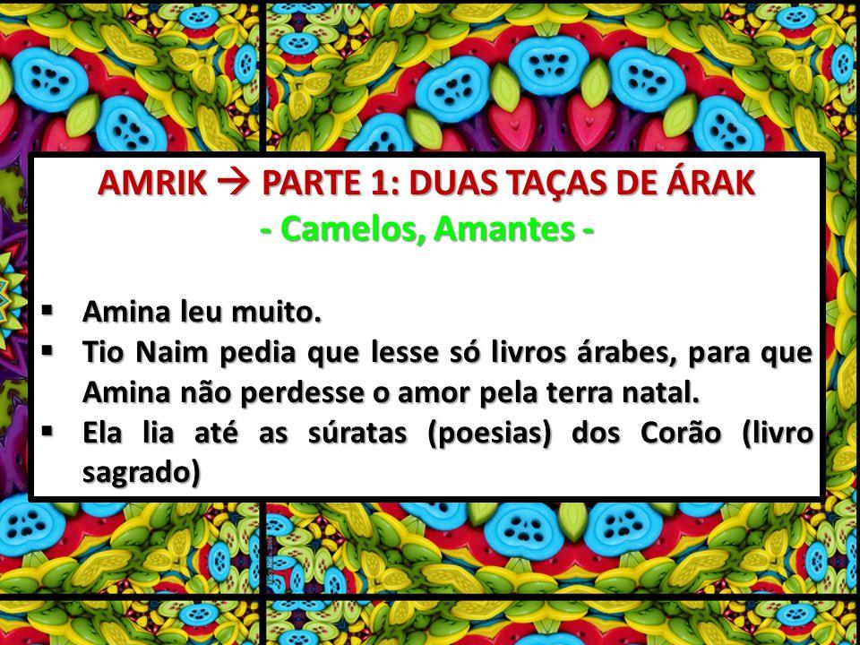 AMRIK PARTE 1: DUAS TAÇAS DE ÁRAK - Camelos, Amantes - Amina leu muito. Amina leu muito. Tio Naim pedia que lesse só livros árabes, para que Amina não