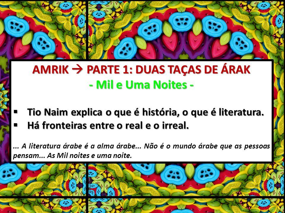 AMRIK PARTE 1: DUAS TAÇAS DE ÁRAK - Mil e Uma Noites - Tio Naim explica o que é história, o que é literatura.