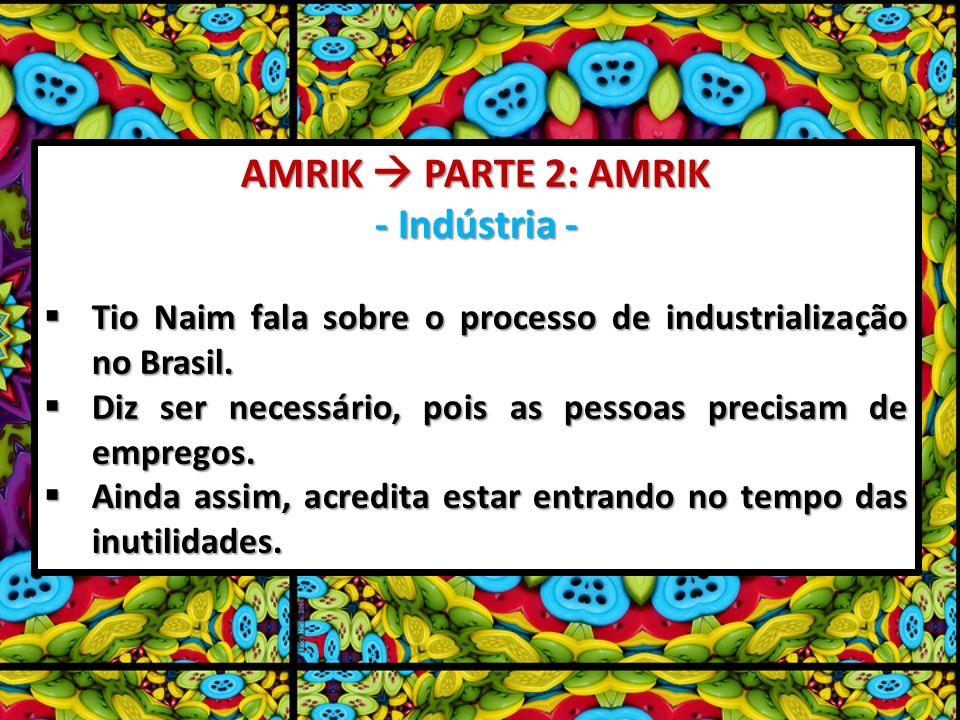 AMRIK PARTE 2: AMRIK - Indústria - Tio Naim fala sobre o processo de industrialização no Brasil. Tio Naim fala sobre o processo de industrialização no