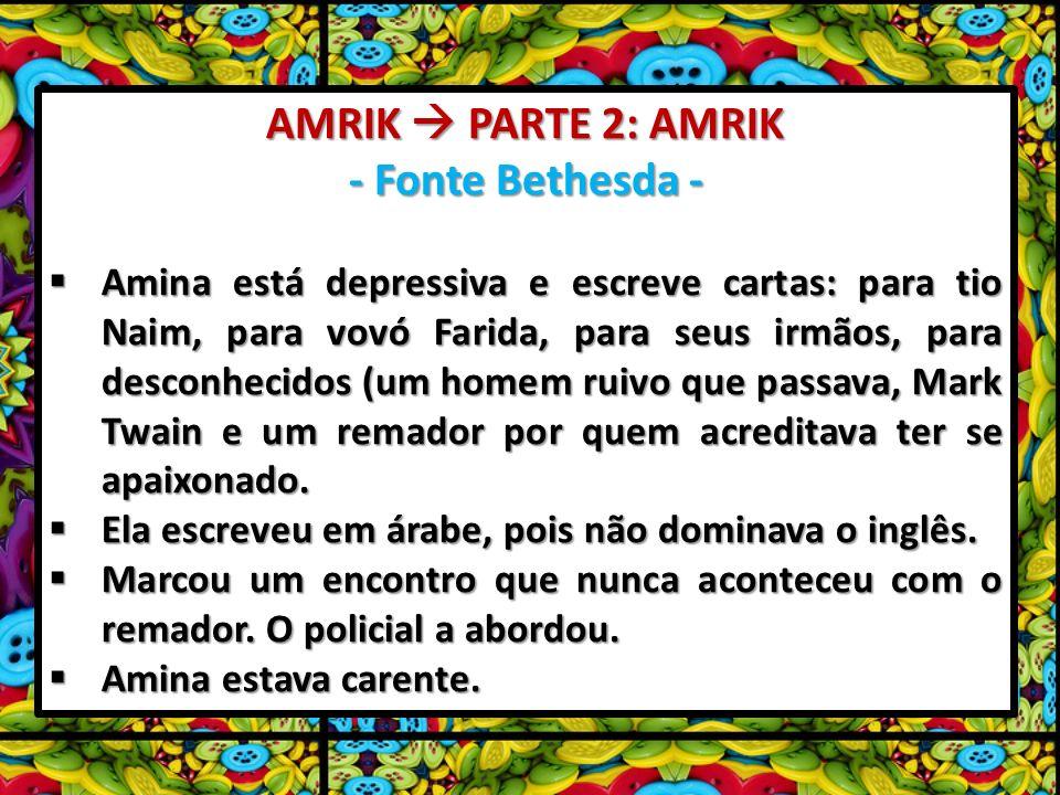 AMRIK PARTE 2: AMRIK - Fonte Bethesda - Amina está depressiva e escreve cartas: para tio Naim, para vovó Farida, para seus irmãos, para desconhecidos (um homem ruivo que passava, Mark Twain e um remador por quem acreditava ter se apaixonado.