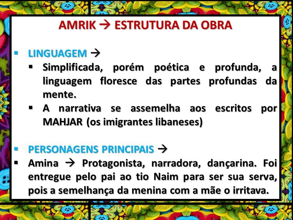 AMRIK ESTRUTURA DA OBRA LINGUAGEM LINGUAGEM Simplificada, porém poética e profunda, a linguagem floresce das partes profundas da mente. Simplificada,