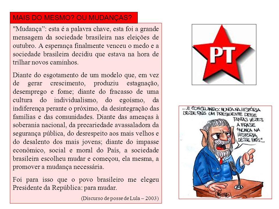 I- O que não mudou: 1.º) Política econômica: Para manter investidores internacionais e manter a inflação sob controle, Lula conservou algumas práticas econômicas do governo FHC, como: altas taxas de juros elevação das metas do superávit primário (dinheiro economizado para pagar a dívida do país)