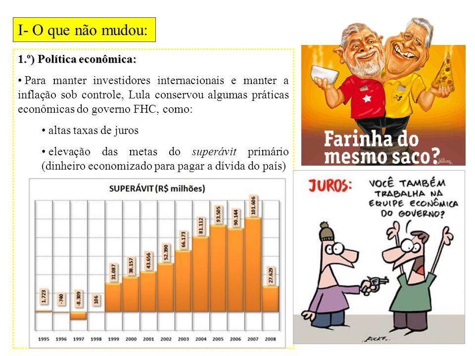 I- O que não mudou: 1.º) Política econômica: Para manter investidores internacionais e manter a inflação sob controle, Lula conservou algumas práticas