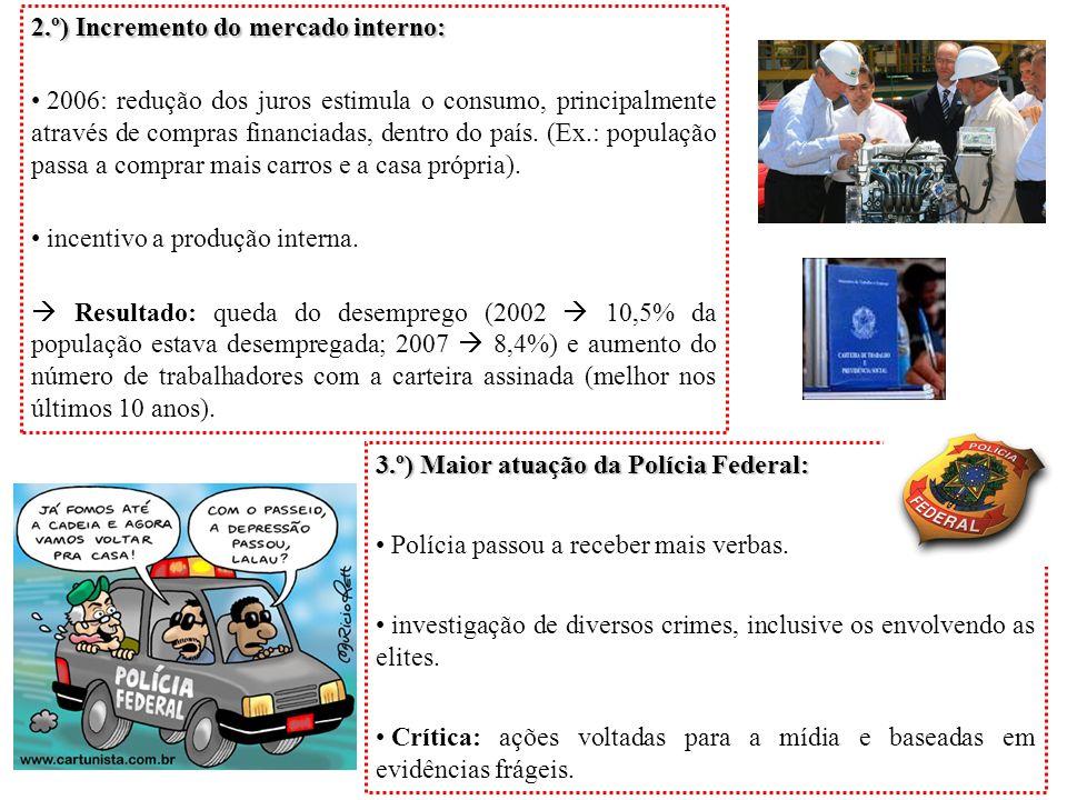 2.º) Incremento do mercado interno: 2006: redução dos juros estimula o consumo, principalmente através de compras financiadas, dentro do país. (Ex.: p