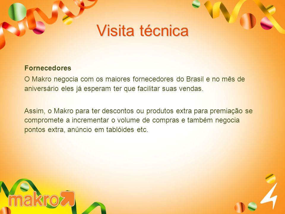 Visita técnica Fornecedores O Makro negocia com os maiores fornecedores do Brasil e no mês de aniversário eles já esperam ter que facilitar suas venda