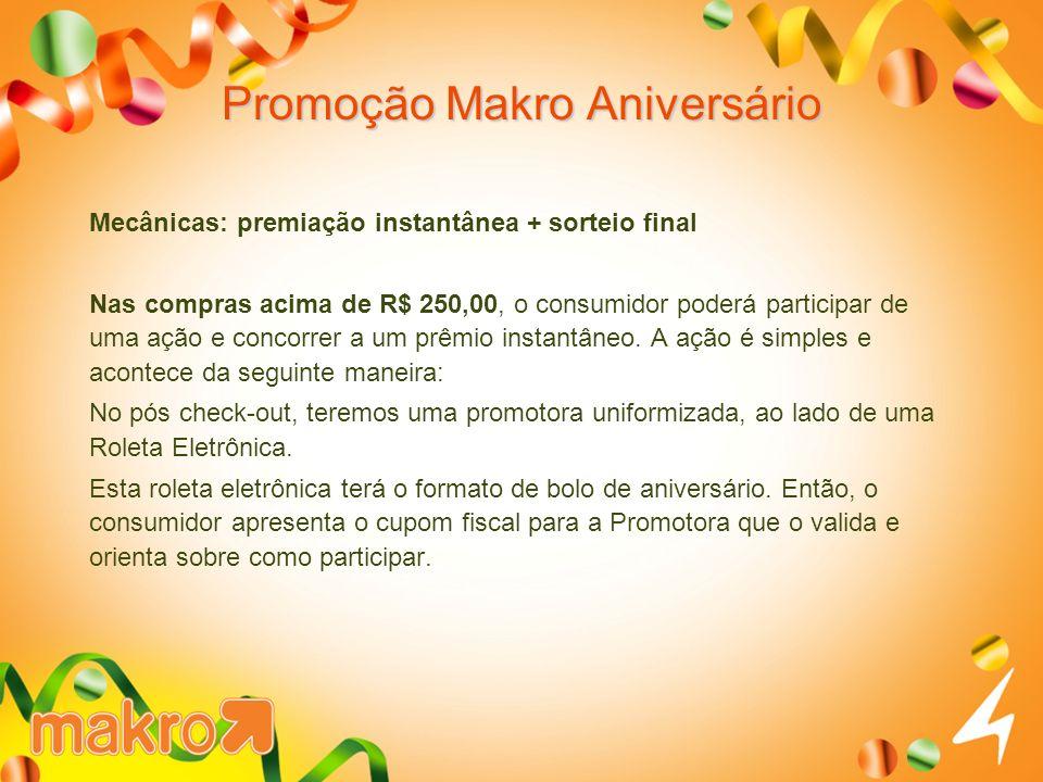 Promoção Makro Aniversário Mecânicas: premiação instantânea + sorteio final Nas compras acima de R$ 250,00, o consumidor poderá participar de uma ação