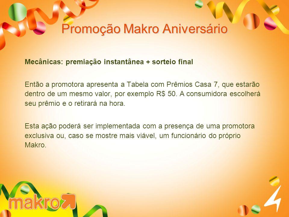 Promoção Makro Aniversário Mecânicas: premiação instantânea + sorteio final Então a promotora apresenta a Tabela com Prêmios Casa 7, que estarão dentro de um mesmo valor, por exemplo R$ 50.