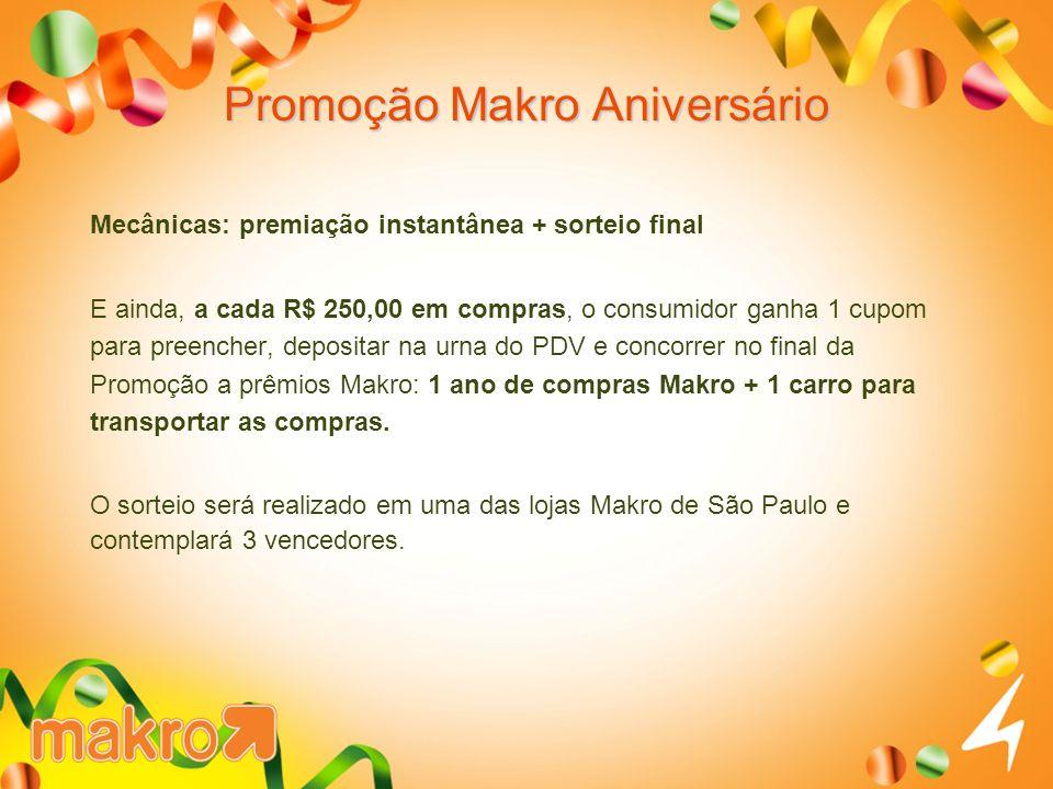 Promoção Makro Aniversário Mecânicas: premiação instantânea + sorteio final E ainda, a cada R$ 250,00 em compras, o consumidor ganha 1 cupom para pree
