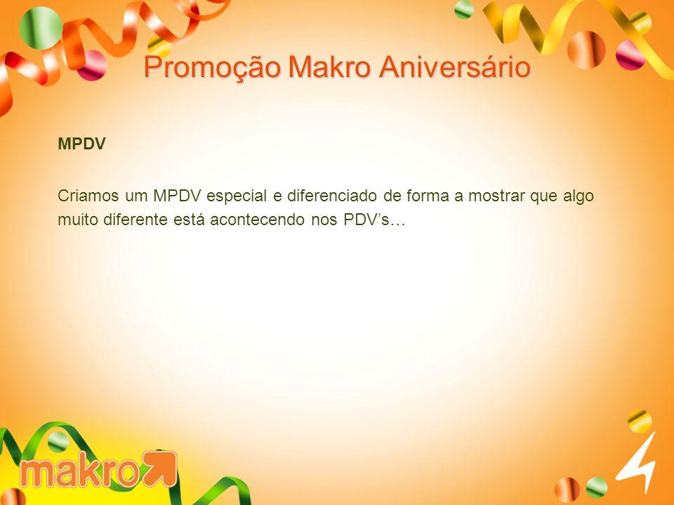 Promoção Makro Aniversário MPDV Criamos um MPDV especial e diferenciado de forma a mostrar que algo muito diferente está acontecendo nos PDVs…