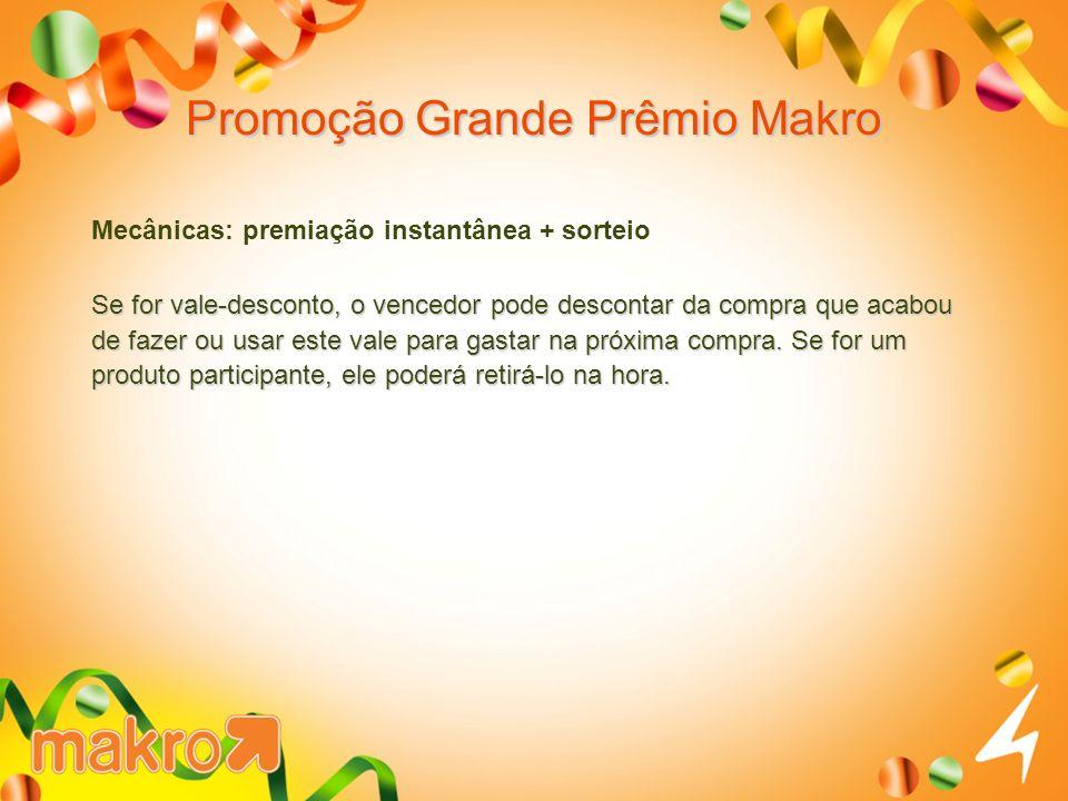 Promoção Grande Prêmio Makro Mecânicas: premiação instantânea + sorteio Se for vale-desconto, o vencedor pode descontar da compra que acabou de fazer