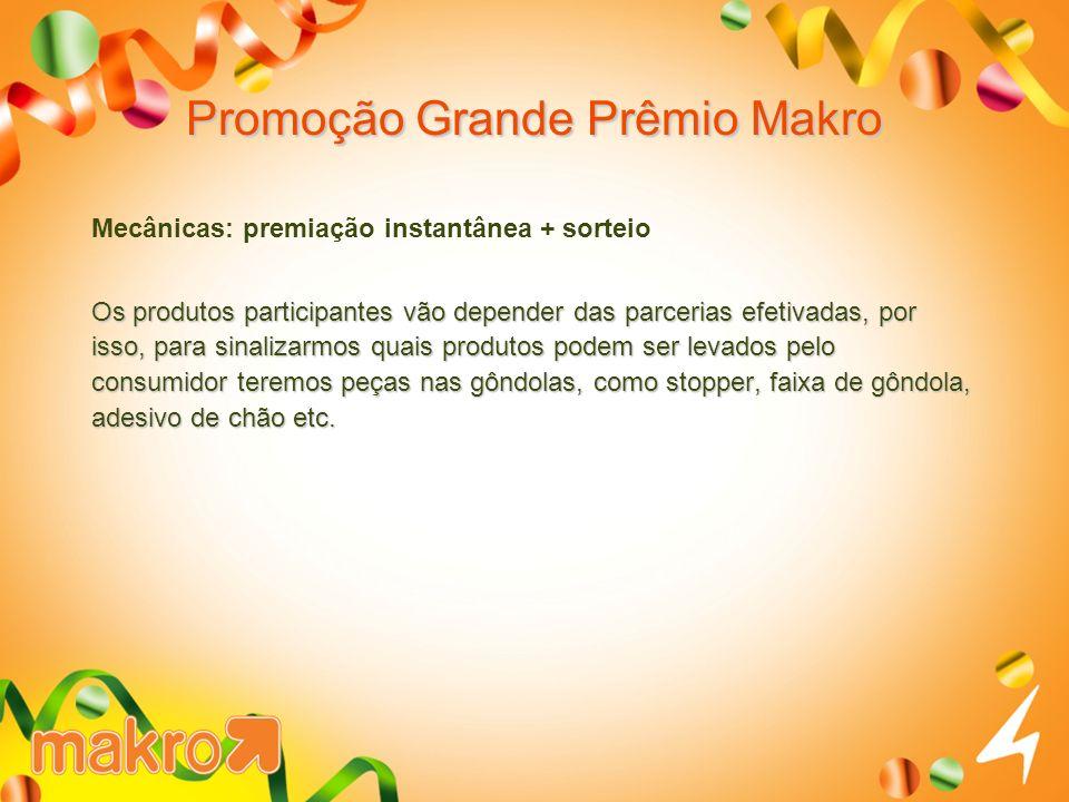 Promoção Grande Prêmio Makro Mecânicas: premiação instantânea + sorteio Os produtos participantes vão depender das parcerias efetivadas, por isso, par